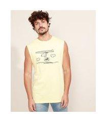 regata masculina snoopy gola careca amarelo claro
