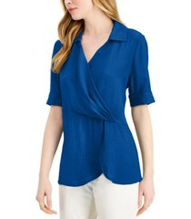 alfani petite draped-front collared top, created for macy's