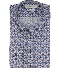 bugatti overhemd geprint blauw beige