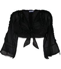 charo ruiz ibiza cropped tie-waist poplin top - black