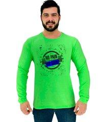 camiseta manga longa moletinho alto conceito sem dor sem ganho verde neon - verde - masculino - algodã£o - dafiti