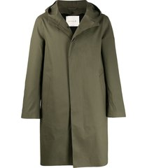 mackintosh chryston bonded cotton hooded coat - green