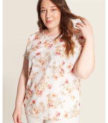 blusa   manga corta estampada flores
