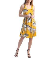 women's print sleeveless knee length dress
