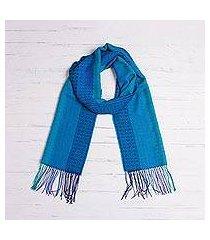 alpaca blend scarf, 'tranquil paradise' (peru)