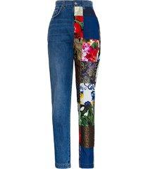 dolce & gabbana denim jeans with patchwork inserts detail