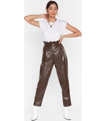 womens paperbag at it faux leather pants - chocolate