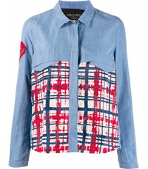 light denim blue shirt with color block