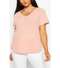plus cross front strap ribbed t-shirt, blush