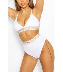 geo tape triangle high waist bikini, white
