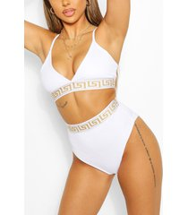 geo tape triangle high waist bikini, white