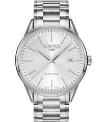 roamer men's 3 hands date 40 mm dress watch in stainless steel case and bracelet