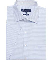 camisa dudalina maquinetada xadrez manga curta masculina (azul medio, 4)