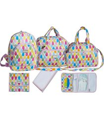 kit bolsas espera feliz bebê maternidade com mochila baby print gota branco - tricae