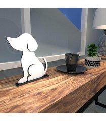 escultura de mesa adorno branco cachorro melhor amigo único