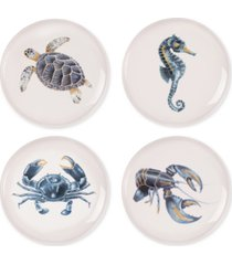 fitz and floyd cape coral collection 4-pc. assorted accent plate set