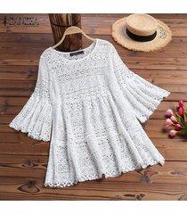 zanzea camisa de mujer con mangas de campana tops detalle de encaje blusas ahuecadas blusa de ganchillo suelta -blanco