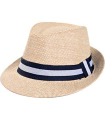 unisex cappello di paglia con tesa larga fedora panama traspirabile con protezione di radiazione solare