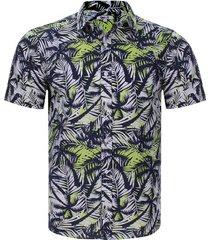 camisa hojas y palmeras color azul, talla l