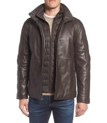 men's marc new york hartz leather jacket with quilted bib, size large - brown