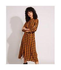 vestido chemise de viscose estampado de poá com faixa para amarrar midi manga 7/8 preto