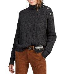 chaleco cable-knit turtleneck gris polo ralph lauren