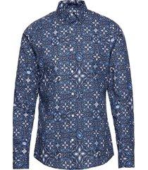 d1. tile print slim town overhemd casual blauw gant