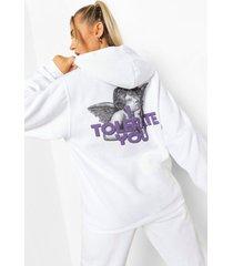 kerub i tolerate you hoodie met rugopdruk, white