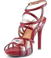 sandalia tacón alto cuero rojo versilia petunia