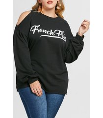 plus size drop shoulder letter print sweatshirt