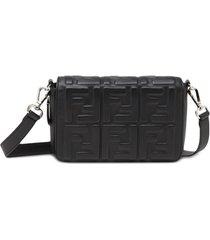 fendi bolsa carteiro com logo ff - preto