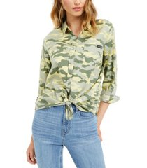 calvin klein jeans printed button-front roll-tab-sleeve top