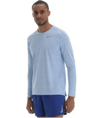 camiseta manga longa nike dry miler - masculina - azul claro