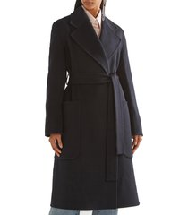 women navy belted carice oversized double-breasted wool and cashmere-blend coat