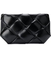 bottega veneta maxi intrecciato padded pouch - black