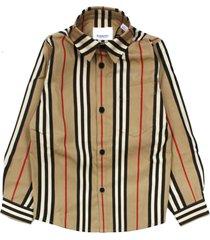 burberry beige cotton striped shirt