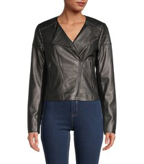 bailey 44 women's knox faux leather moto jacket - gunmetal black - size 12
