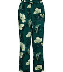 petite pant woven lotus bird pyjamasbyxor mjukisbyxor grön hunkemöller