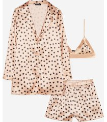 womens underneath the stars 3-pc pajama shorts set - champagne