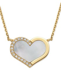 "effy mother-of-pearl & diamond (1/20 ct. t.w.) heart 18"" pendant necklace in 14k gold"