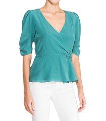 parker women's juniper wrap silk blouse - malachite - size l