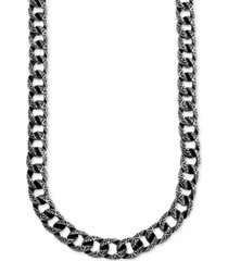 """men's large decorative curb link 24"""" necklace in stainless steel & black ion-plate"""
