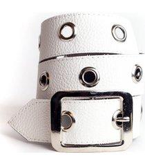 cinturón blanco la vie est belts front
