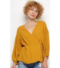 blusa colcci manga longa amarração feminina