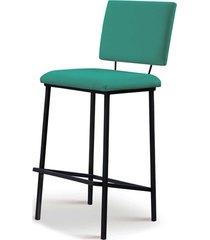 banqueta marcele aã§o preto assento/encosto estofado linho azul turquesa daf - azul - dafiti