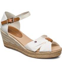 basic open toe mid wedge sandalette med klack espadrilles creme tommy hilfiger
