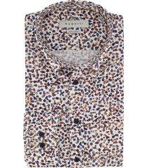 bugatti overhemd wit met blauw bruine print