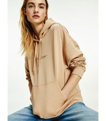 tommy hilfiger women's relaxed fit logo hoodie crepe - xxl