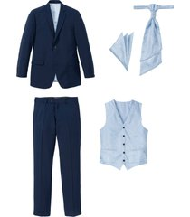 completo (5 pezzi) giacca, pantaloni, gilet, cravatta e pochette (blu) - bpc selection