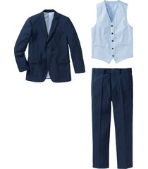 completo (5 pezzi) giacca, pantalone, gilet, camicia, cravatta (blu) - bpc selection